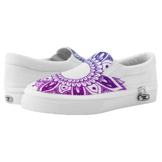Purple Floral Mandala Trendy Design Slip-On Sneakers