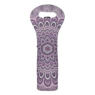 Purple floral mandala wine bag
