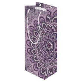 Purple floral mandala wine gift bag