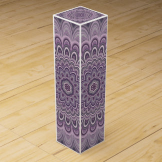Purple floral mandala wine gift box