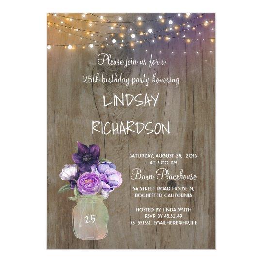 Purple Floral Mason Jar Rustic Barn Birthday Party Card