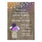 Purple Floral Mason Jar Rustic Rehearsal Dinner Card