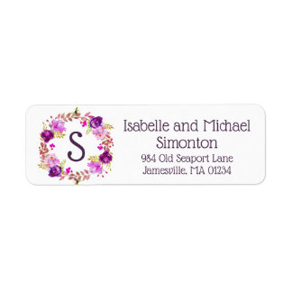 Purple Floral Monogram Return Address Labels