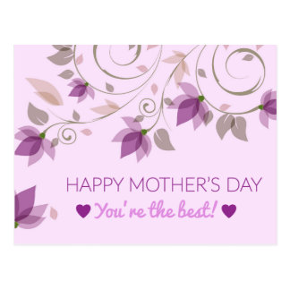 Purple Floral Mothers Day Greetings Postcard