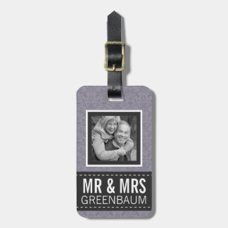 Purple Floral  Mr and Mrs Personalized Photo Bag Tag