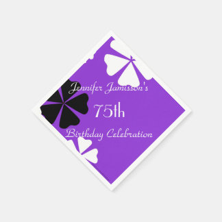Purple Floral Paper Napkins, 75th Birthday Party Paper Napkins