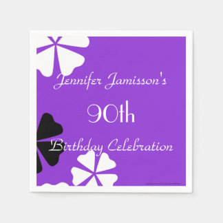 Purple Floral Paper Napkins, 90th Birthday Party Disposable Napkins