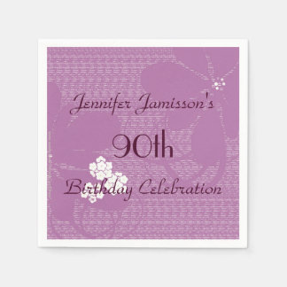 Purple Floral Paper Napkins, 90th Birthday Party Paper Napkin