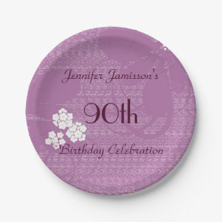 Purple Floral Paper Plates, 90th Birthday Party Paper Plate