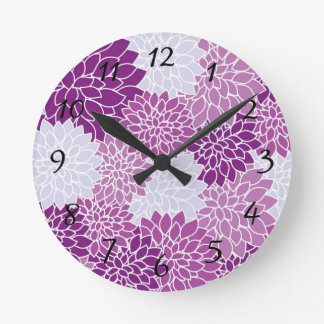 Purple Floral Pattern Clock with Numbers
