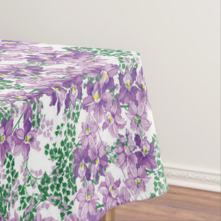 Purple floral pattern dining tablecloth