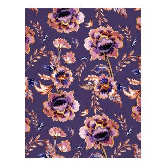 Purple Floral Pattern Letterhead