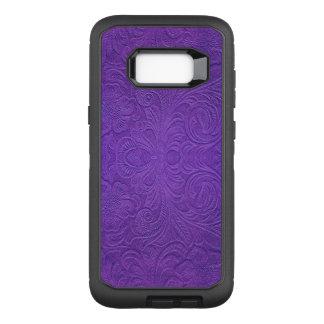 Purple Floral Pattern Suede Texture Look OtterBox Defender Samsung Galaxy S8+ Case