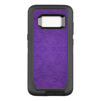 Purple Floral Pattern Suede Texture Print OtterBox Defender Samsung Galaxy S8 Case