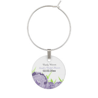 purple floral Personalized wine charms