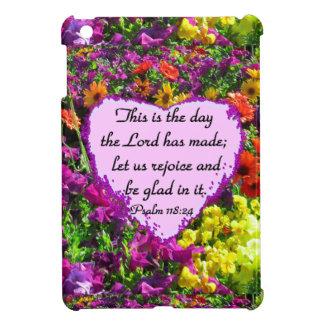 PURPLE FLORAL PSALM 118:24 PHOTO DESIGN CASE FOR THE iPad MINI