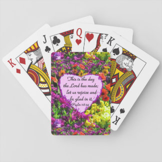 PURPLE FLORAL PSALM 118:24 PHOTO DESIGN PLAYING CARDS