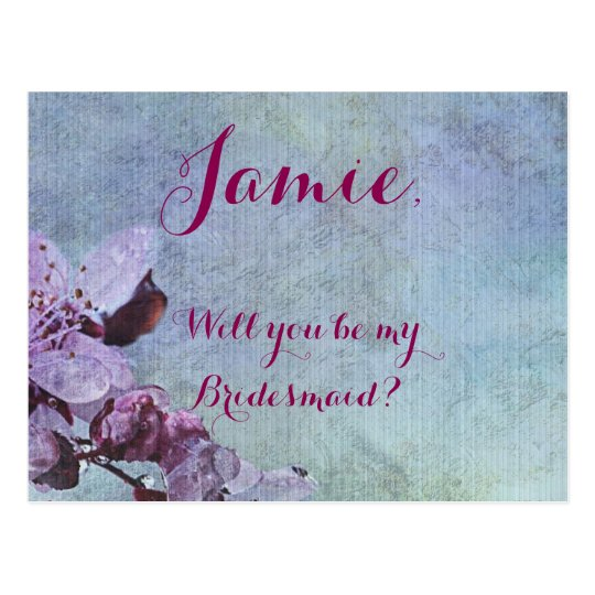 Purple Floral Purple and Blue Postcard