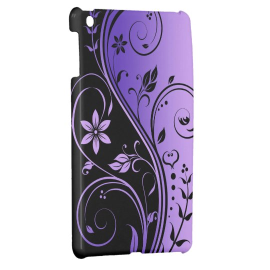 Purple Floral Scroll Mini Ipad Case