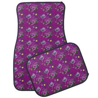 Purple Floral Set of 4 Car Mats