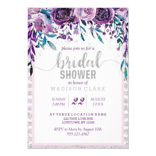 Purple Floral & Silver Bridal Shower Invitation