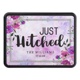Purple Floral & Silver Frame Wedding Just Hitched Trailer Hitch Cover