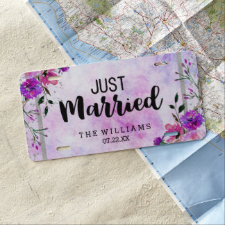 Purple Floral & Silver Frame Wedding Just Married License Plate