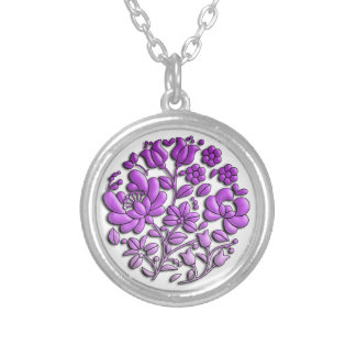 Purple Floral Silver Plated Necklace