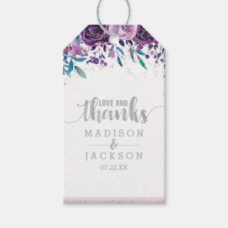 Purple Floral & Silver Wedding Love & Thanks Gift Tags