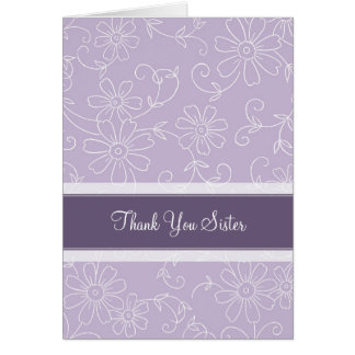 Purple Floral Sister Thank You Maid of Honor Card