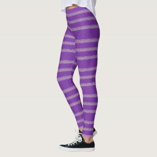 Purple Floral Stripe Leggings