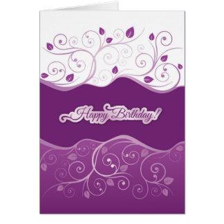 Purple floral swirls happy birthday card for girl