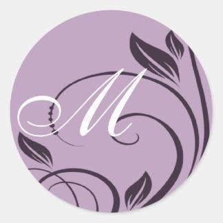 Purple Floral Swirls Monogram Round Sticker