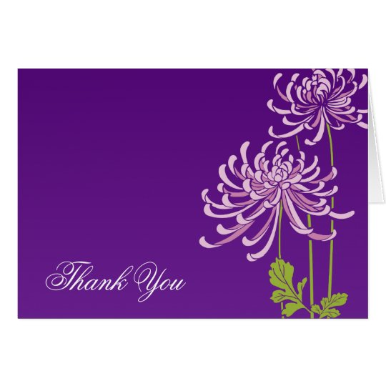 Purple Floral Thank You Greeting Cards Design