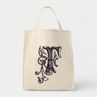 Purple Floral Vine Monogram 'F' - Bag