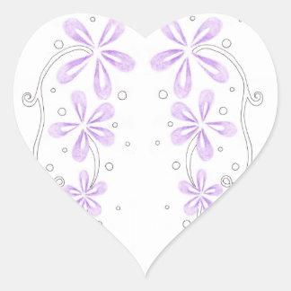 Purple Floral Vines Heart Sticker