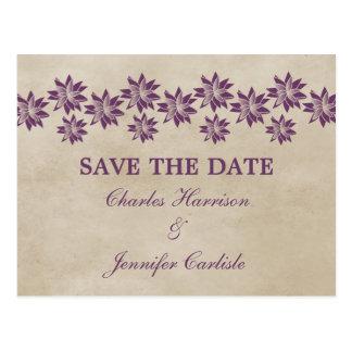 Purple Floral Vintage Save the Date Postcard