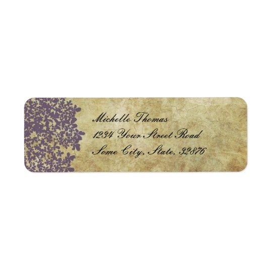 Purple Floral Vintage Wedding Address