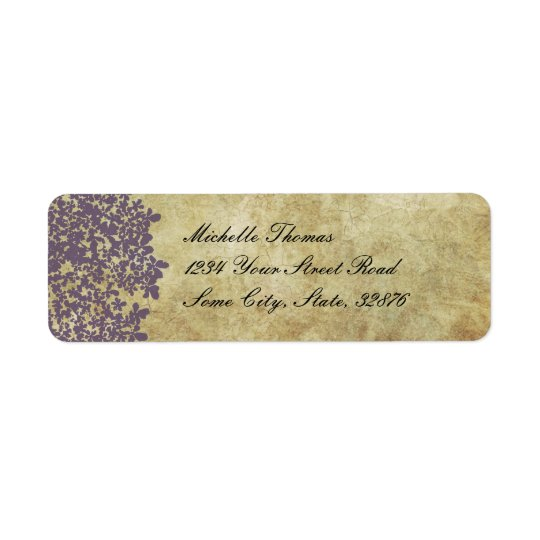 Purple Floral Vintage Wedding Address Return Address Label