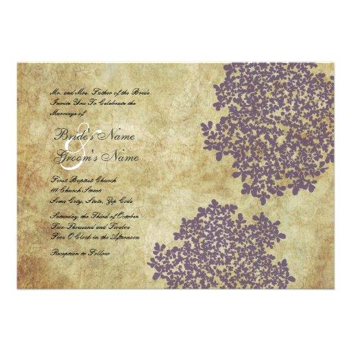 Purple Floral Vintage Wedding Invitations