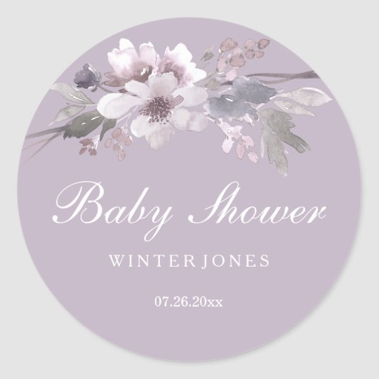 Purple Floral Watercolor Baby Shower Sticker