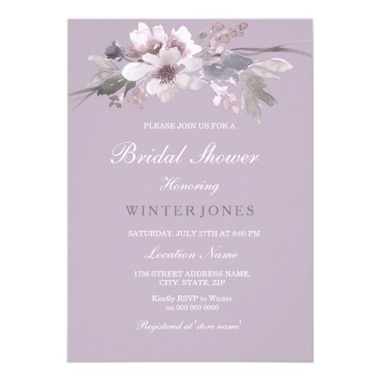 Purple Floral Watercolor Bridal Shower Invitation