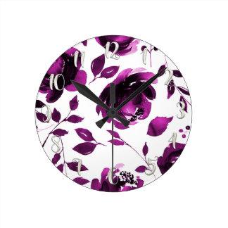 Purple Floral Watercolor Flowers Elegant Chic Round Clock