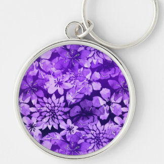 Purple floral watercolor pattern Silver-Colored round keychain