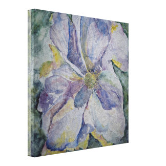 Purple Floral Watercolor Print Wrapped Canvas