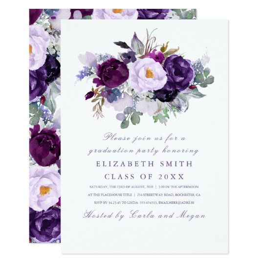 Purple Floral Watercolor Romantic Graduation Party Card