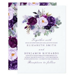 Purple Floral Watercolor Wedding Card