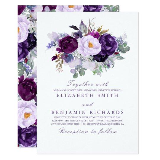 Purple Floral Watercolor Wedding Card