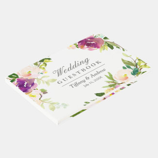 Purple Floral Watercolor Wedding Guest Book