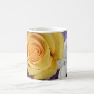 Purple floral wedding bouquet classic white coffee mug